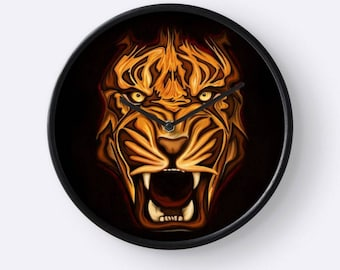 Clock Roaring Tiger - Fawn portrait digital painting printed on a wall clock - decor Tiger - Tiger gift - gift for him