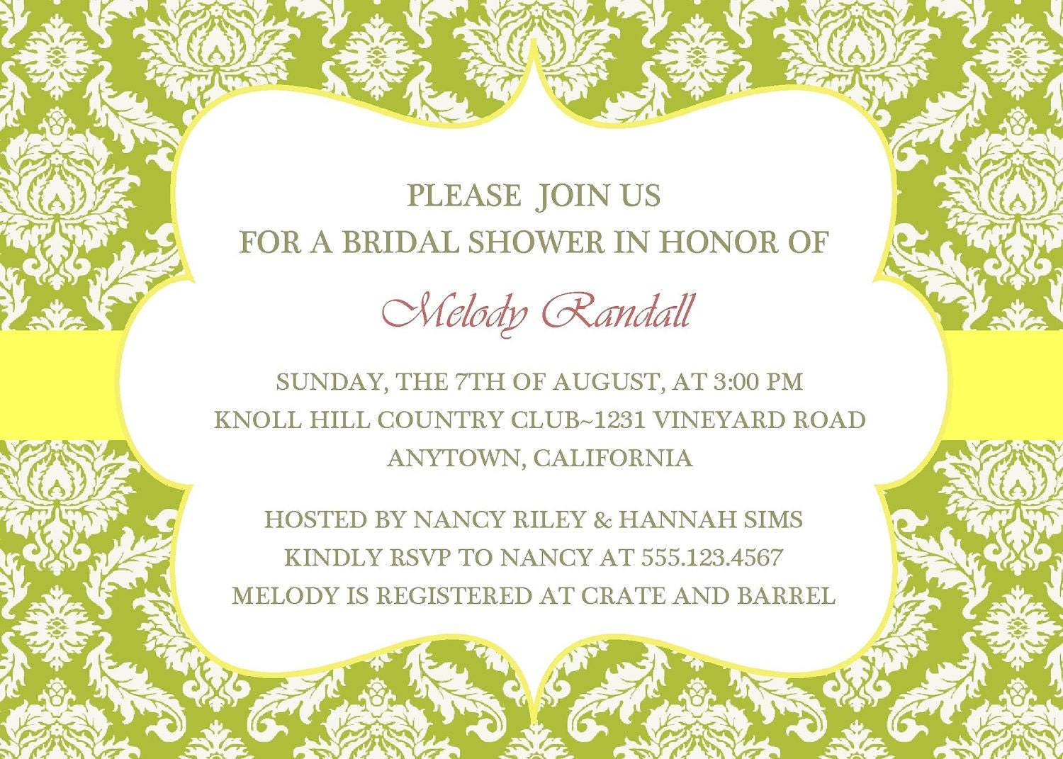 Bridal Shower Invitation Elegant Damask/Printable Digital
