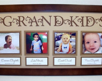 Grandkids Collage Picture Frame 10x20 Personalized - You Choose Colors - Frame Included