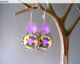 Earrings purple and lime green Retro
