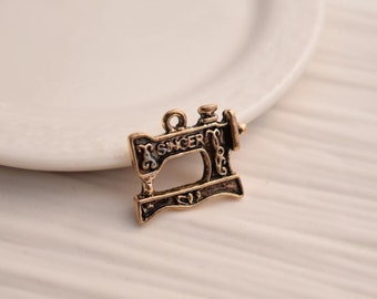 10 sewing machine charms gold black sewing charm pendants (z01)