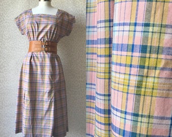Summer dress M-XL, cotton dress, checked pattern sleeveless dress, knee length dress,  retro style, 80's fashion