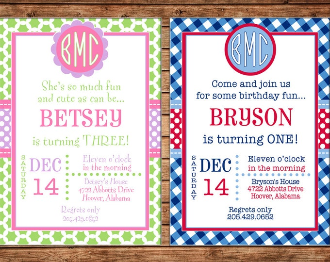 Boy or Girl Invitation Monogram Baby Shower Birthday Party - Can personalize colors /wording - Printable File or Printed Cards