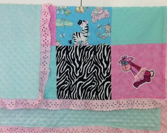 Handmade embroidered ballet giraffe with lace tutu baby blanket