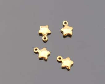 Gold Tarnish Resistant Small Star Charm, Pendant, Connectors, Earring Findings, 2 pc, UP915665
