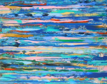 Harbour Lights- Large abstract painting