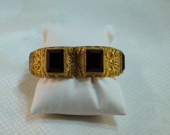 Chinese export Gold Vermeil, Filigree Sterling and Onyx Bracelet