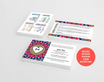 Rodan and Fields Business Cards / Red / Boho Style / Combo / Products / Regimen / Mini Facials / Instructions / Digital / DIY / Printable