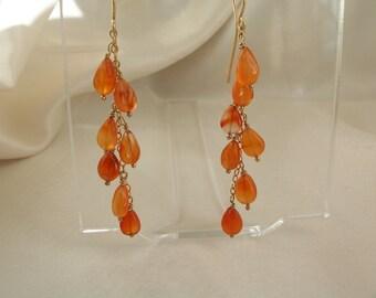 """Carnelian briolettes earrings dangle earrings 2.25"""" total 14k gold filled gemstone handmade  item 635b"""