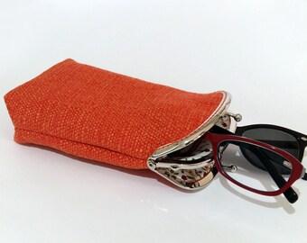 Eyeglasses Case Double Pockets, Sunglasses / Reading Case, Orange Upholstery fabric, Silver Frame