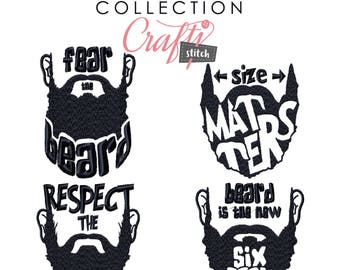 Machine Embroidery Designs - 4 Hipster Beards Collection