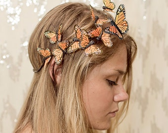 Orange Monarch Butterfly Crown - princess, fairy,forest,renaissance