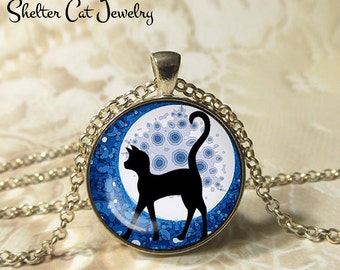 """Black Cat and the Full Moon Necklace - 1-1/4"""" Circle Pendant or Key Ring - Wearable Art Photo - Curious Cat Gothic Halloween Cat Lover Gift"""