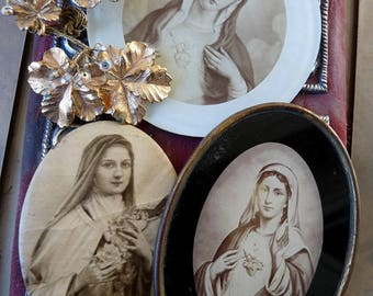 Antique French Religious Relics, Three Treasures for Crafting, offered by RusticGypsyCreations