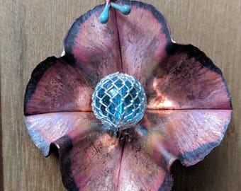 Natural Copper Flower Pendant with Wire-mesh Captured Aqua Glass Center - Foldformed Copper, Firescale, Enamel