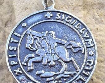 Solid Sterling Silver 925 Masonic KNIGHTS TEMPLAR  pendant