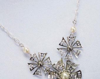 Vintage Flowers & Ivory Pearls Necklace in Silver - Repurposed Vintage, Filigree