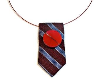 Repurposed Tie Necklace, Statement Necklace, Statement Necklaces, Burgundy Marsala, Upcycled Jewelry, Necktie, SALE