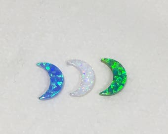 Opal Moon Pendants • DIY Opal Moon Charms • White Opal Moon • Blue Opal Moon • Green Opal Moon
