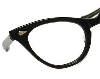 Vintage Black Winged Cateye Eyeglasses Eyewear Frame
