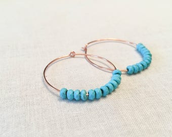 Turquoise Howlite and Copper Hoops - Hammered Artisan Simple Hoop Earrings Faceted Aqua Blue Gemstone Tribal Boho Summer Gift for Her