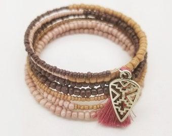 boho bracelet, wrap bracelet, boho jewelry, statement bracelet, pink bracelet, stacking bracelet, beaded bracelet, memory wire bracelet