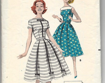 1950s Butterick 8602 Magic-To-Make Full Skirted Dress, Sabrina Neckline, Pleated Skirt, Garden Party Dress, Sewing Pattern, Size 16 Bust 36