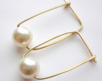 14K Gold Fill and Swarovski Pearl Hoop Earrings