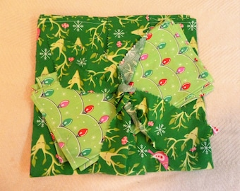 Christmas Clearance Childrens Tablecloth with 4 Napkins