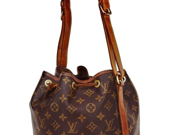 Vintage Louis Vuitton Brown Monogram Canvas Leather Petit Noe Shoulder Bag