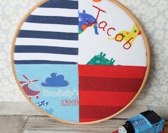 Clothing Memory Hoop ~ baby memory patchwork ~ loved one keepsake 19cm hoop