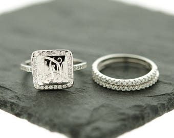925 Sterling Silver Square CZ Monogram Stacking Ring, Monogram Stackable Ring, Silver