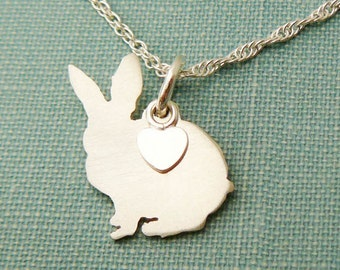 Bunny Rabbit Necklace, Sterling Silver Personalize Pendant, Silhouette Charm, Resue Shelter