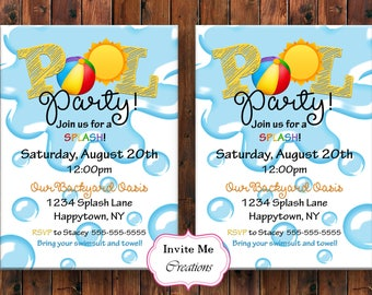 Pool Invitation, Pool Party Invite, BBQ Invitation, BBQ Invite, Pool Birthday Invite, Splash Invite, Summer Invite, Swim Invite, Beach Ball