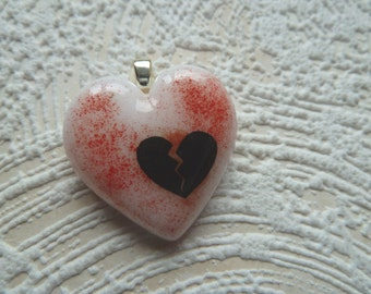 Red & White Broken Heart Fused Glass Pendant  Handmade