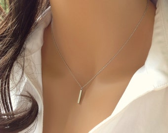 Small Bar Necklace, Silver Pendant Necklace, Simple Silver Necklace, Dainty Choker Necklace Layered Choker,Small Pendant Necklace Bar Choker