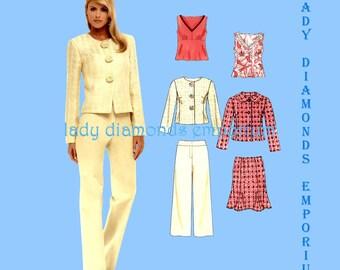 New Look 6570 Womens Raised Waist Top Fluted Skirt Pants Princess Seam Jacket size 10 12 14 16 18 20 22 Petite to Plus Size Pattern Uncut FF