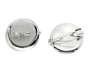 2 Support of Cabochon 20mm silver cameo pin