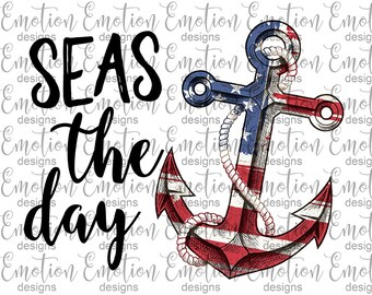 Seas the Day, Anchor, Clipart, instant download, sublimation, scrapbooking