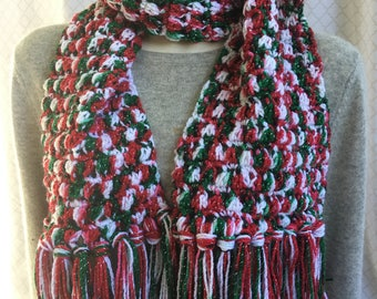 Winter Scarf   CHRISTMAS COLORS for the Holidays  NEW  Crochet Handmade