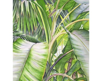 Banana garden - fine art 110 x 80 cm, numbered and signed. Made from my watercolor