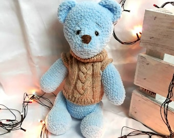Crochet bear Blue bear Crochet teddy Teddy bear toy  Crochet baby toy Baby shower gift Bear toy Baby girl gift Baby boy gift Plush toy