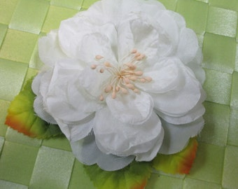 """1 piece in 4 1/2"""" width in white and light green color poly floral pin for your fashion/wedding design decorative"""