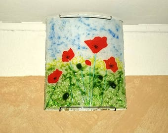 Fused glass fusing glass poppy applique
