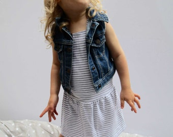 kids  Overalls dress - Bamboo Pinafore - Suspender skirt - Romper - Jumper - Kids Dress - Grey Stripes