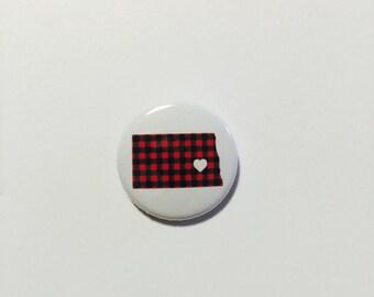 North Dakota Pin - North Dakota Love Flannel Pinback Button by Oh Geez! Design