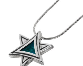 Star of David Pendant Necklace Eilat Stone Pendant Sterling Silver Necklace