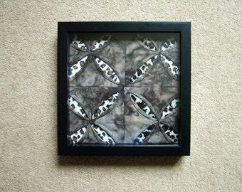 Secret Garden Cathedral Window Patchwork framed.