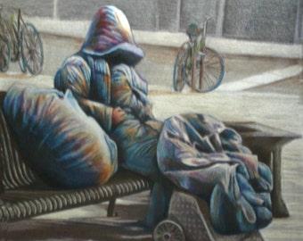 original art drawing Invisible Society homeless man on bench