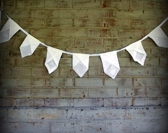 Vintage Handkerchief Banner in White